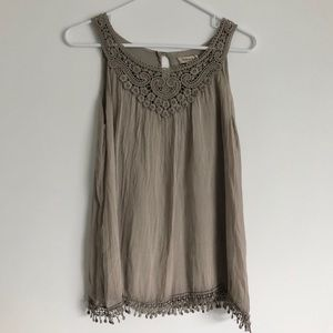 Tan Tank Top with Lace and Fringe Details NWOT Sm